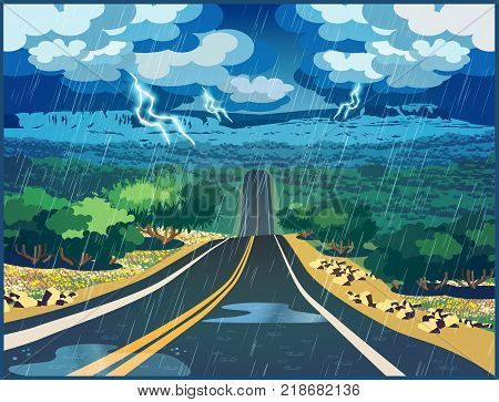 Stylized vector illustration of a road through the valley on a thunderstorm day