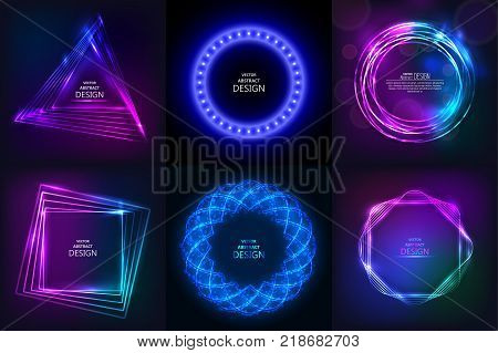 Set of sparkling neon banners. Multi-colored bright frames. Disco style. Shining geometrical figures. Design elements. Abstract backgrounds. Vector illustrations.