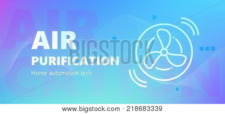Vector illustration of automation of air purification emblem on blue background. Home automation technology.