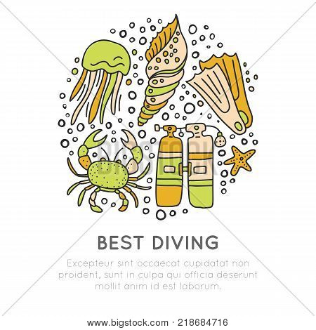 Best diving hand draw icon concept. Diving equipment and sealife in one round form, diving and water adventure icons, sketch cartooning style, isolated on white background