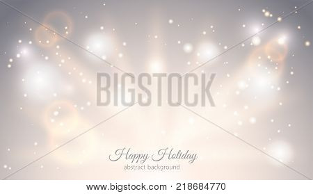 Abstract sparkling light magic horizontal background. Glow bright festive fantasy banner with rays sparks ligh effect. Elegant Starry Christmas card with place for text. Vector Illustration.