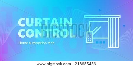 Vector illustration of automation of remote curtain electronic control emblem on blue background. Home automation technology.