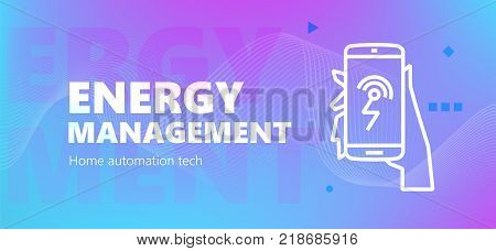 Vector illustration of automation of energy system emblem on blue background. Home automation technology.