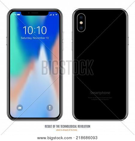 smartphone in black color with colorful screen front and back side on white background. stock vector illustration eps10