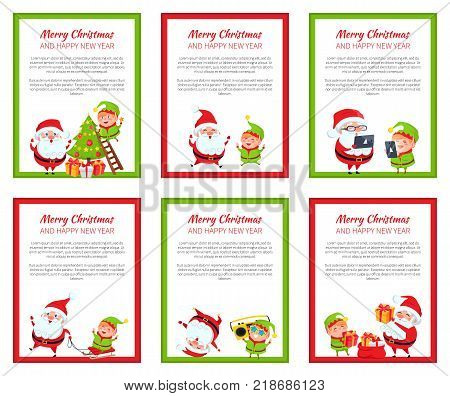 Set of six New Year vector illustrations with text sample, cards with Snata Claus and elf isolated on white bacgrounds with red and green frames