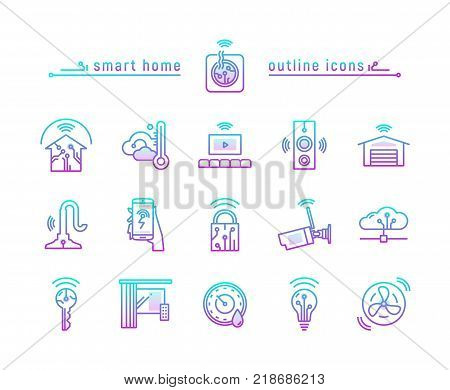 Vector illustration gradient icon set of home automation isolated on white background. Home automation technology. Wwireless remote electronic control.
