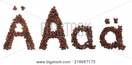 Letter A made of coffee beans isolated on white. Concepts: alphabet logo creative coffee hand made words symbols.