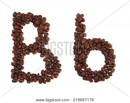 Letter B made of coffee beans isolated on white. Concepts: alphabet logo creative coffee hand made words symbols.
