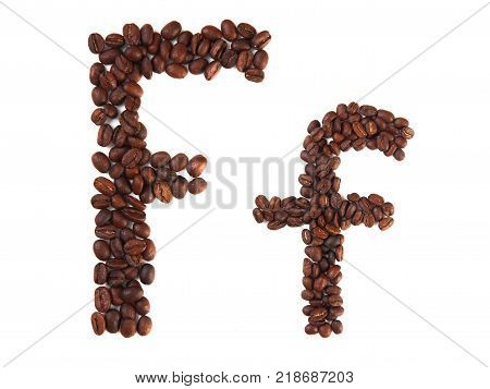 Letter F made of coffee beans isolated on white. Concepts: alphabet logo creative coffee hand made words symbols.
