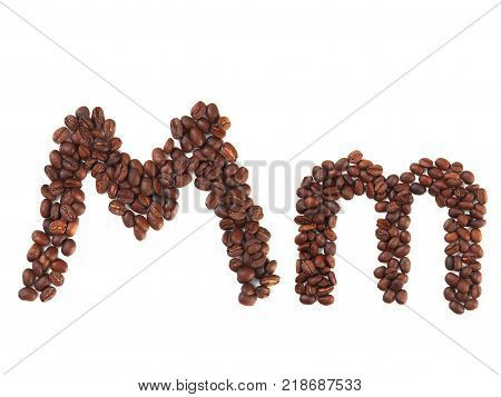 Letter M made of coffee beans isolated on white. Concepts: alphabet logo creative coffee hand made words symbols.