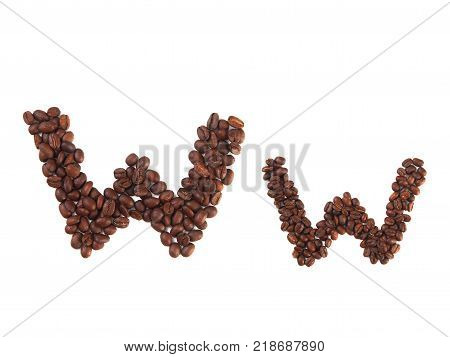 Letter W made of coffee beans isolated on white. Concepts: alphabet logo creative coffee hand made words symbols.
