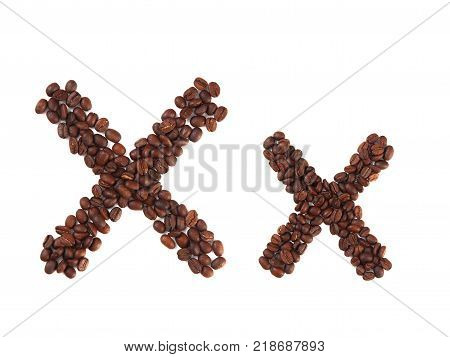 Letter X made of coffee beans isolated on white. Concepts: alphabet logo creative coffee hand made words symbols.