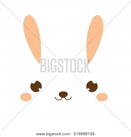 Cute rabbit. Kawaii Bunny. Sweet little Hare. Cartoon animal face for kids toddlers and babies fashion.