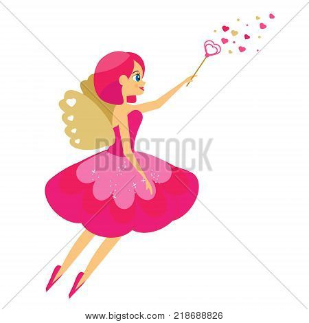 Beautiful Cupid girl spreading love dust. Winged flying fairy in pink dress flapping wand. Valentines day romantic character. Vector illustration greeting card