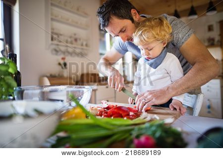 Young father with a toddler boy cooking. A man with his son making vegetable salad.