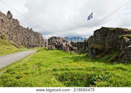 Location of Althing, the oldest parliament on the Earth, is marked by Icelandic flag. Thingvellir national park, Iceland