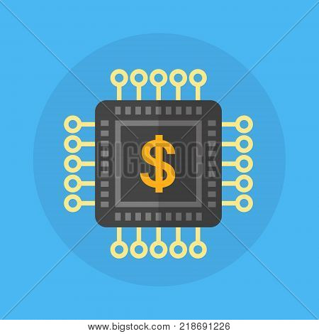 Microchip With Dollar Sign Icon Chip Processor Flat Vector Illustration poster