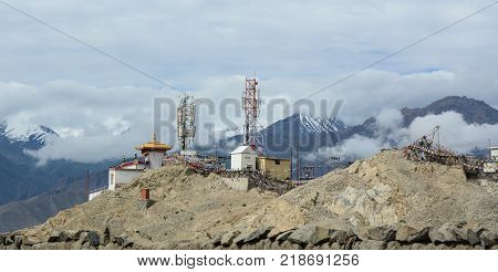 Ladakh India - Jul 20 2015. Telecom towers on the hill in Ladakh India. Ladakh is a mountainous region in the disputed northwest Jammu and Kashmir area in north India.