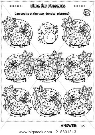 Winter, Christmas or New Year themed visual puzzle with Santa's sacks full of toys and presents: Can you spot the two identical pictures? Black and white, for kids and adults, IQ training. Answer included.