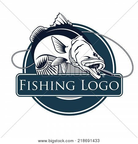 Perch fish and fishing rod logo. Bass fish vector illustration can be used for creating logos and emblems for fishing clubs prints web and other crafts.
