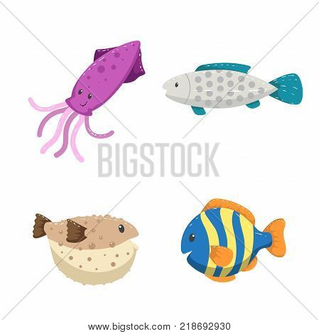 Cartoon trendy design different sea and ocean animals set. Isolated vector illustration. Squid striped color fish blowfish and gray dotted fish.