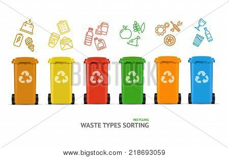 Waste Sorting Types Concept Recycled Bins witch Color Outline Icons Segregation Garbage Environment Protection. Vector illustration of Trashcan