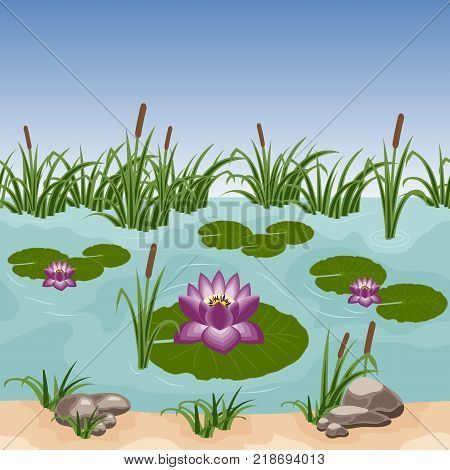 Pond with colorful water lilies reeds in grass and stones. Can be used as a seamless background for game or cartoon asset. Vector illustration tileable horizontally
