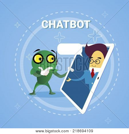 Business Man Chatting With Chatbot Through Digital Tablet Chatter Bot Robot Support Modern Technology Concept Vector Illustration