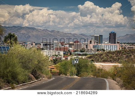Tucson downtown and Santa Catalina Mountain from road to Sentinel Peak Park, Tucson, Arizona, USA