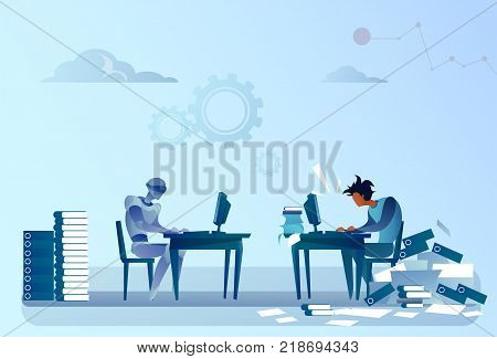 Robot Vs Human Modern Robotic Machine And Man Working At Computer Technology And Artificial Intelligence Concept Vector Illustration