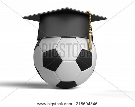 3d illustration. Graduation cap and Soccer Ball. Image with clipping path