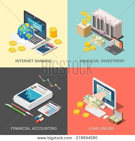 Isometric accounting 2x2 design concept with cumbersome conceptual icons of computer equipment office supplies and money vector illustration