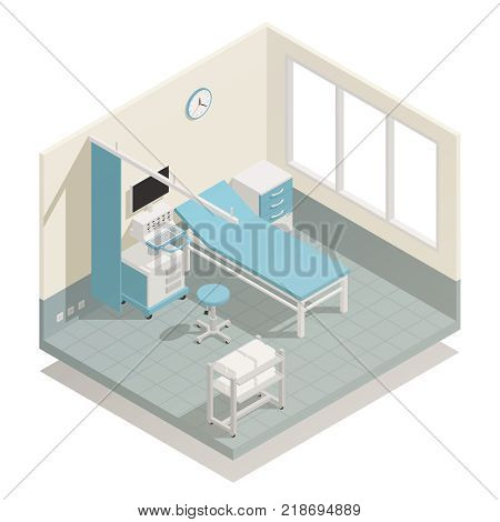Hospital intensive care unit life support and monitoring medical equipment with patient bed isometric composition vector illustration