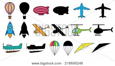 Set of air transports: balloon dirigible airplane space rocket hydroplane helicopter seaplane parachute glider. Colorful images and silhouette. Vector illustration.