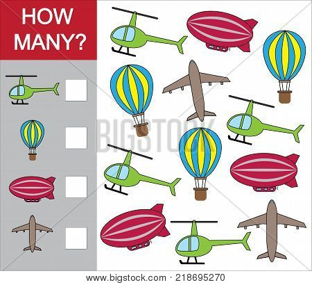Counting educational game for children. Count how many object of air transport. Vector illustration.
