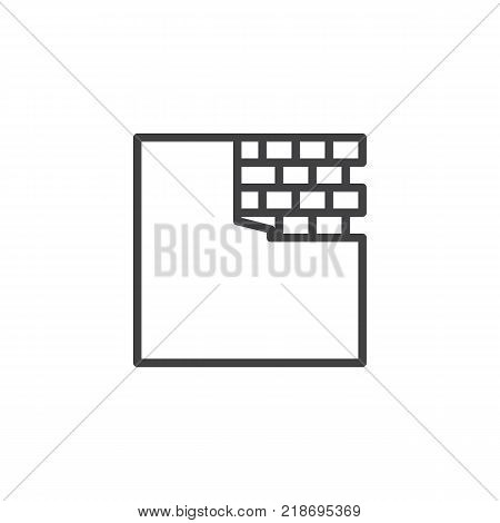 Brick wall line icon, outline vector sign, linear style pictogram isolated on white. Construction bricklaying symbol, logo illustration. Editable stroke