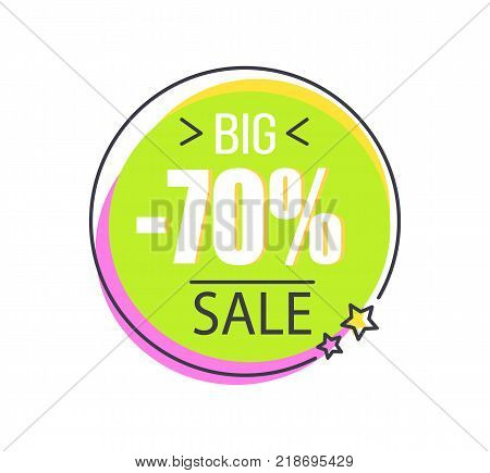 Big 70 sale round promo sticker in circle shape total price discount offer vector illustration in green purple colors isolated label on white with stars