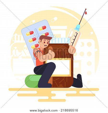 drug addiction Medical Pills Tablets Bottle syringe addict man Vector colorful illustration in flat style image eps10