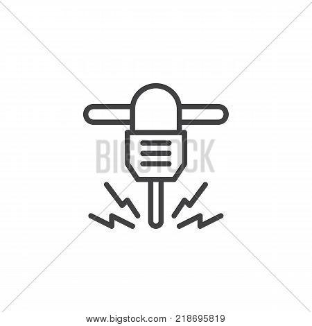 Jackhammer line icon, outline vector sign, linear style pictogram isolated on white. Hydraulic breaker symbol, logo illustration. Editable stroke