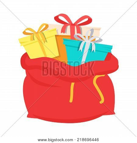Santa Claus red bag with gift boxes isolated on white. Big Christmas sack with colorful presents. Winter holidays concept. Container for xmas packages. Vector illustration in cartoon style flat design