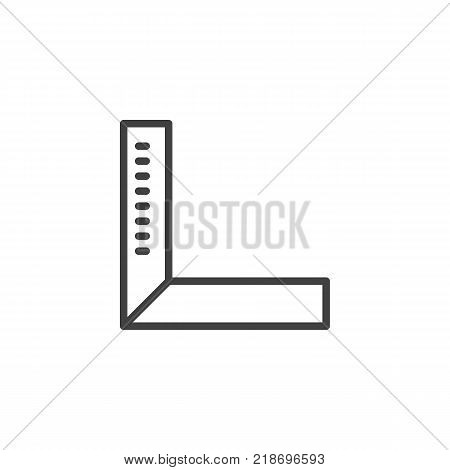 Degree square ruler line icon, outline vector sign, linear style pictogram isolated on white. Setsquare tool symbol, logo illustration. Editable stroke
