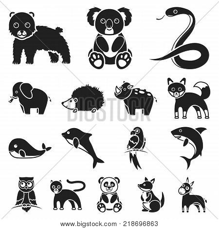 An unrealistic animal black icons in set collection for design. Toy animals vector symbol stock illustration.