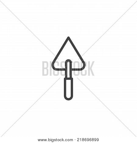 Trowel for brickwork line icon, outline vector sign, linear style pictogram isolated on white. Symbol, logo illustration. Editable stroke