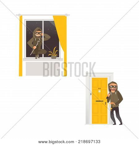 vector cartoon thief burglar housebreaker in mask, hood, breaking and entering in a victim's house set. One does it through the door holding stolen keys in hand, another man opening window by crowbar
