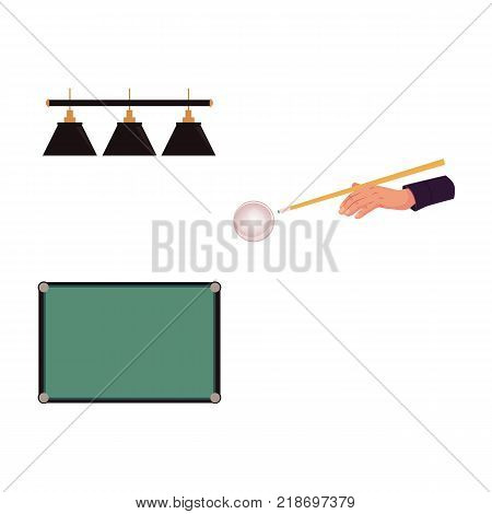 Set of flat style pool, billiard objects - top view table, hand aiming cue at ball, lamps, vector illustration isolated on white background. Vector set of pool, billiard game objects