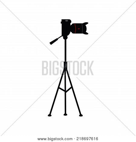 vector flat cartoon lens photo camera standing at special tripod stand side view. Professional photo equipment. Isolated illustration on a white background.