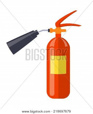 Carbon dioxide extinguisher with black hard horn, standard red cylinder isolated vector illustration. Device is used for extinguishing electrical fire