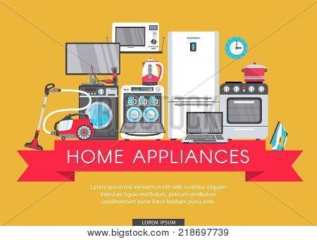 vector online shopping advertising poster banner design. Gas stove, dishwasher, washing machine, electric kettle or teapot, hair dryer, iron, vacuum cleaner, laptop, monitor clock, fridge icon set.