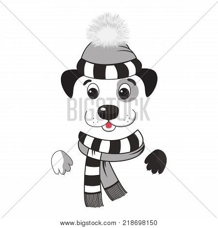 Funny dog in a winter hat with a pompon and striped scarf