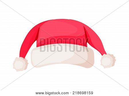Santa Claus hat with two ends on top isolated on white. Winter fur woolen cap with pompoms. Father Christmas hat flat icon winter unisex snowboard accessory in cartoon style vector illustration